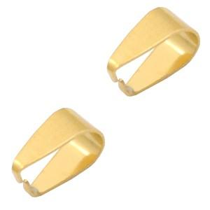Roestvrij stalen (RVS) Stainless steel onderdelen buighanger ovaal voor bedel 9x5.5mm goud