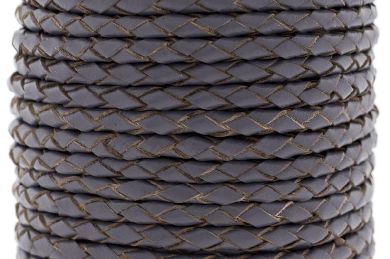Rond gevlochten leer 4mm vintage paars per 20cm