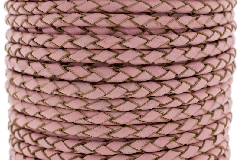 Rond gevlochten leer 4mm vintage roze per 20cm