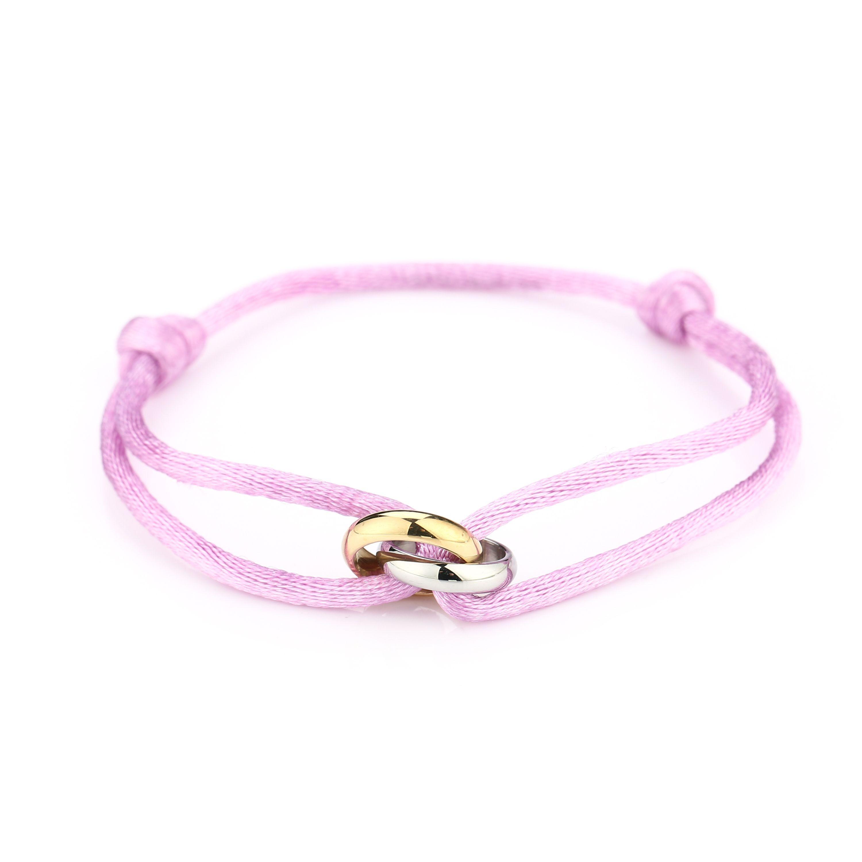 Satijnen armband goud met zilver verbonden cirkels stainless steel lila