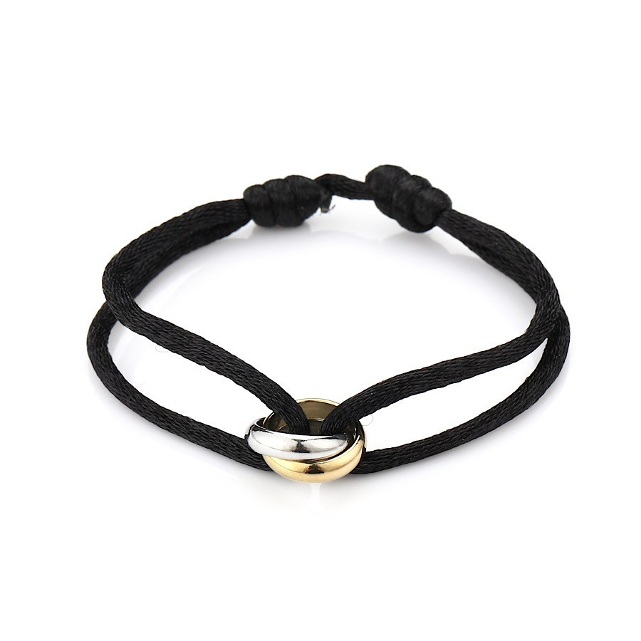 Satijnen armband goud met zilver verbonden cirkels stainless steel zwart