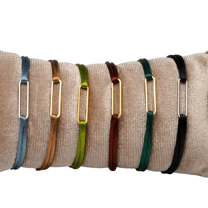 Satijnen armband oval stainless steel mix colors 1