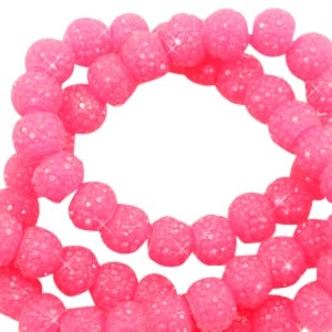 Sparkling beads candy pink 6mm