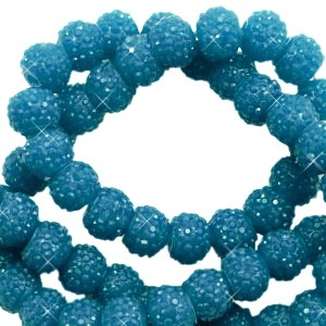 Sparkling beads teal blue 6mm