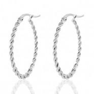 Stainless steel creool oorring oval twist zilver 25mm