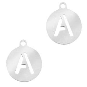 Stainless steel (RVS) initiaal bedel rond A - Z zilver