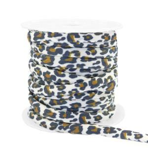 Stitched elastisch lint 4mm ibiza black-white leopard (per 25cm)
