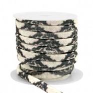 Stitched elastisch lint ibiza snake black beige