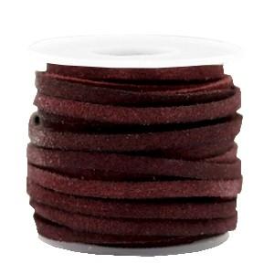 Suede DQ leer plat 3mm auberge brown (per meter)