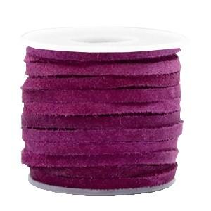 Suede DQ leer plat 3mm aubergine purple (per meter)