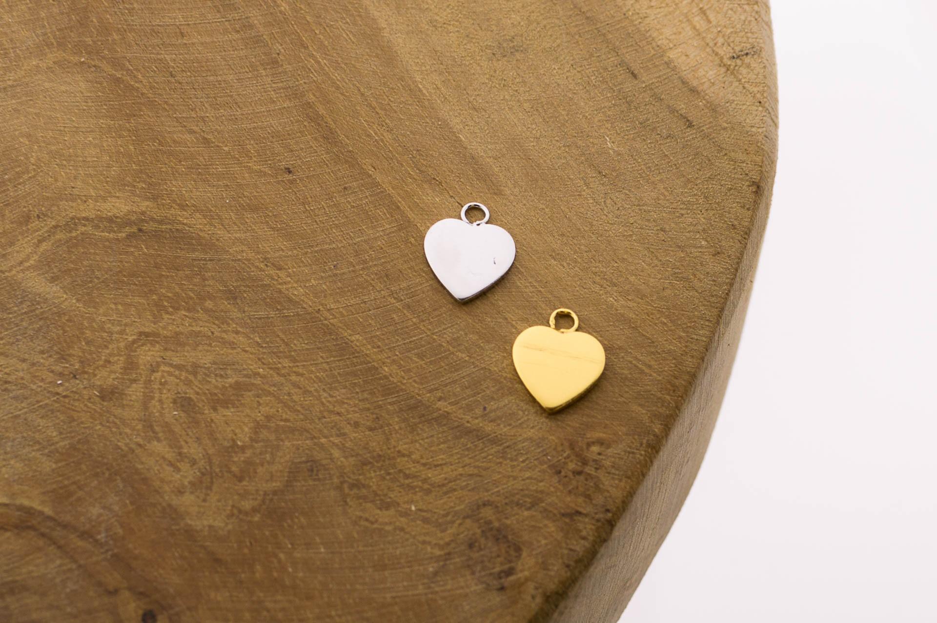 Karma symbols heart 925 sterling zilver en goldplated 10mm (per stuk)