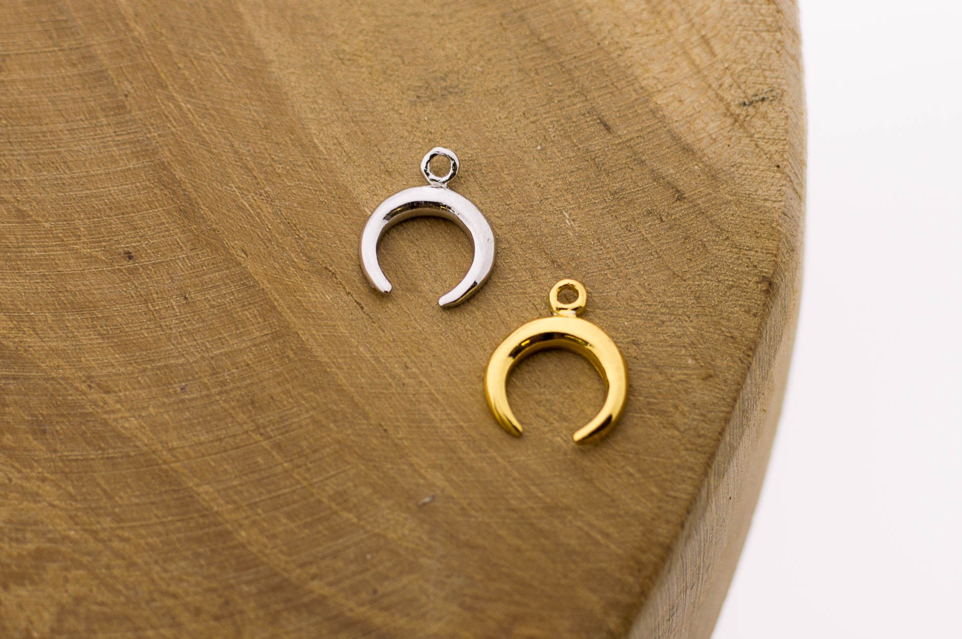 Karma symbols horn 925 sterling zilver en goldplated 11mm (per stuk)