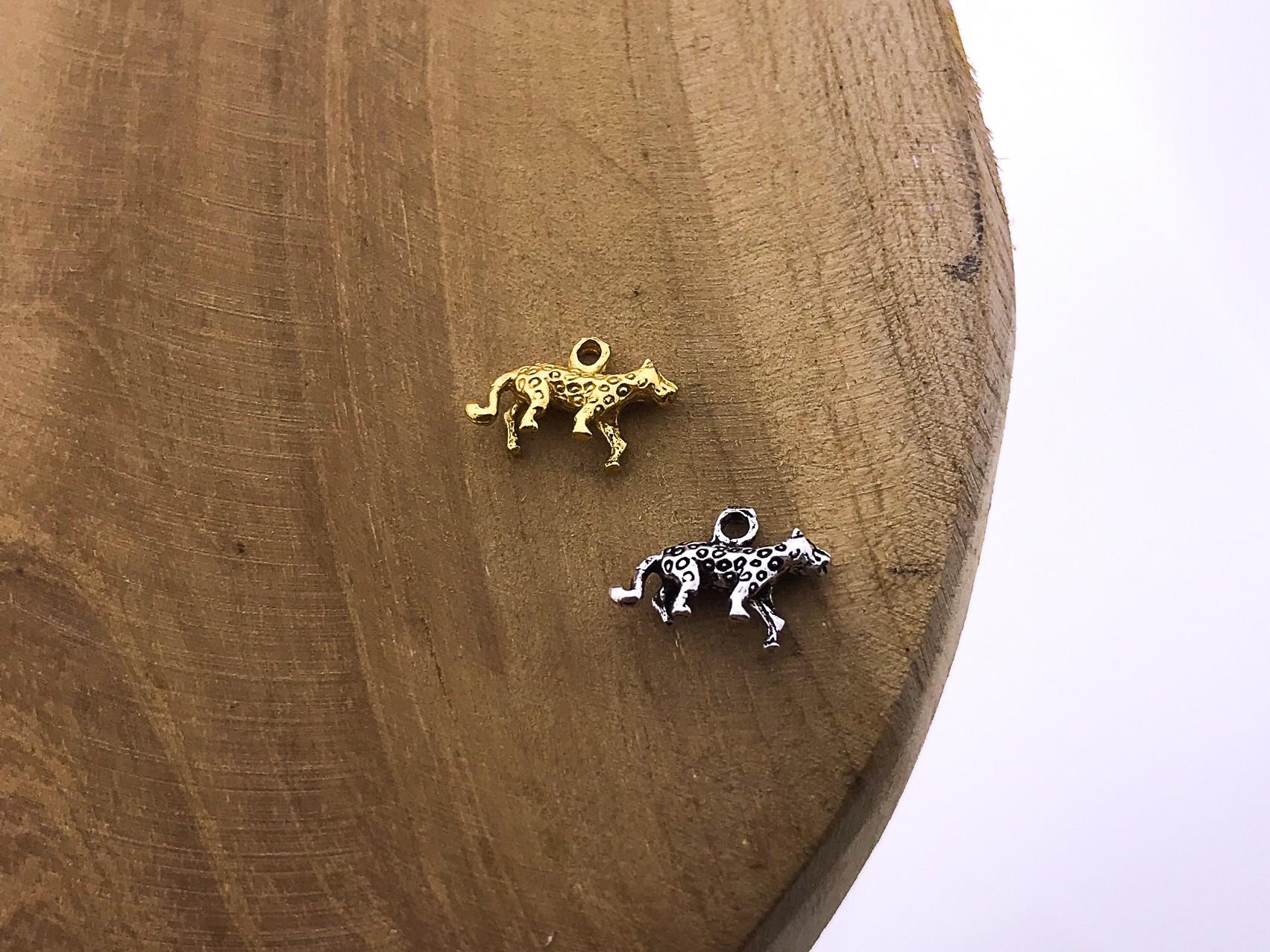 Karma symbols leopard 925 sterling zilver en goldplated (per stuk)