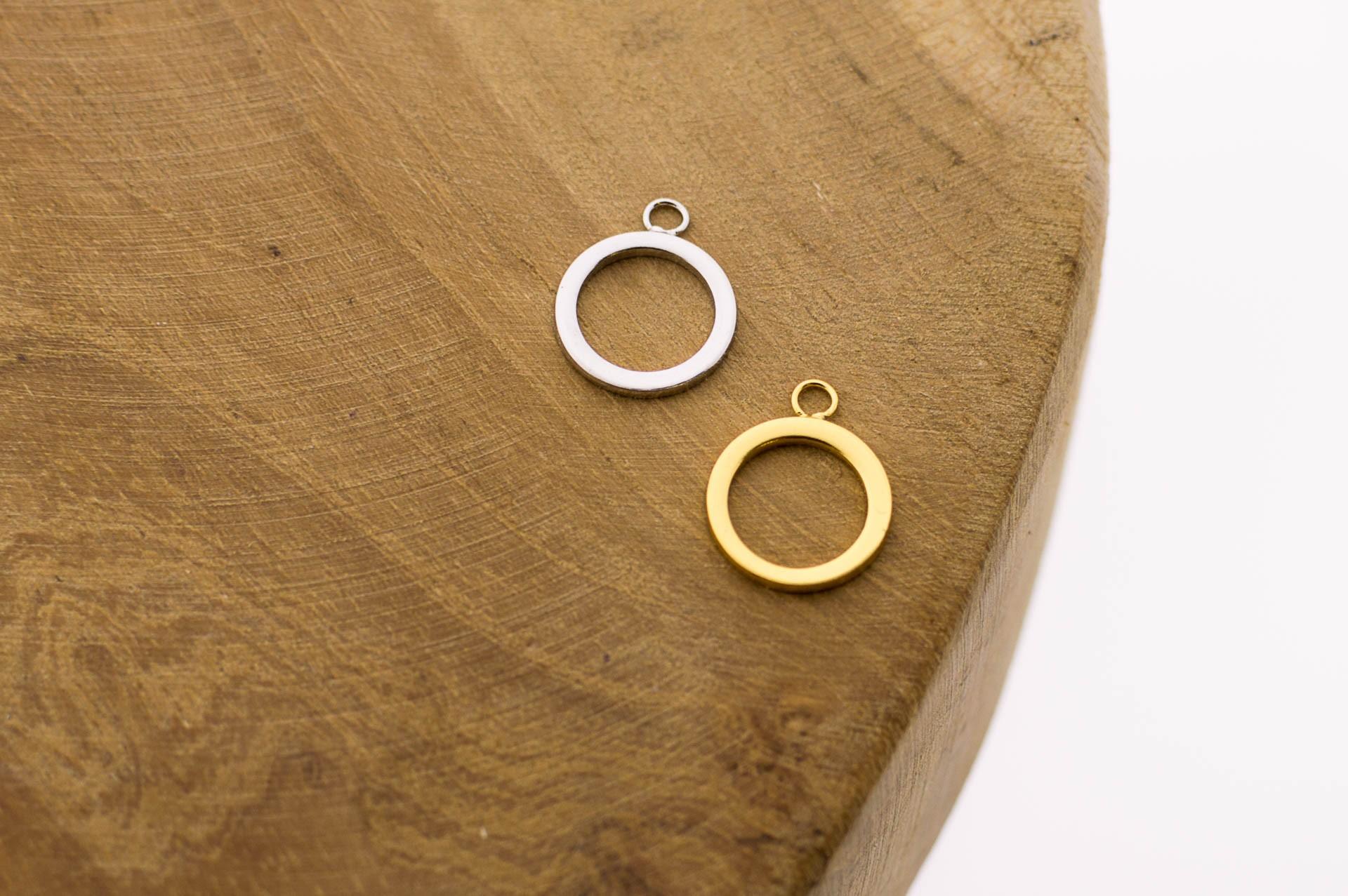 Karma symbols open circle 925 sterling zilver en goldplated 9mm (per stuk)