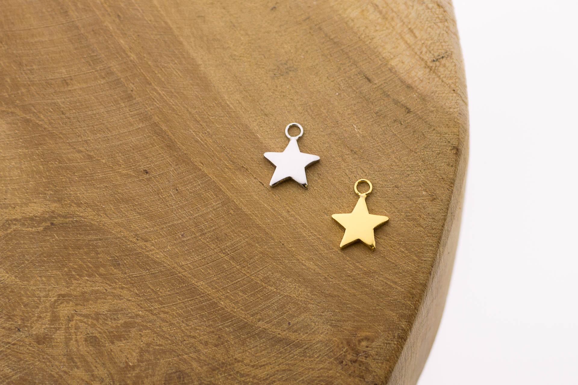 Karma symbols star 925 sterling zilver en goldplated 10mm (per stuk)