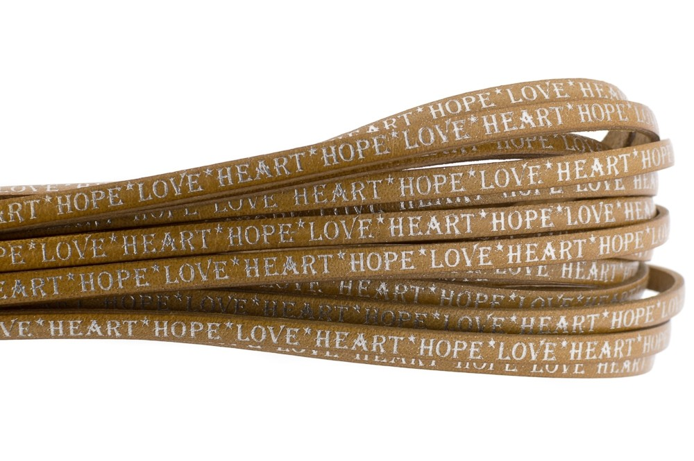Tekst leer 'hope love heart' cognac zilver 5mm (per 20cm)
