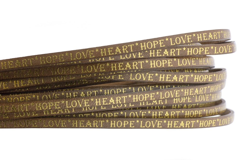Tekst leer 'hope love heart' naturel goud 5mm (per 20cm)