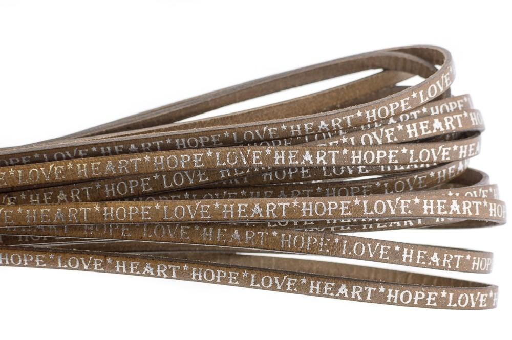 Tekst leer 'hope love heart' naturel zilver 5mm (per 20cm)