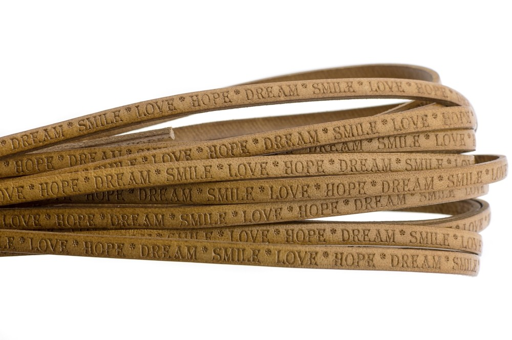 Tekst leer 'love hope dream' cognac 5mm (per 20cm)