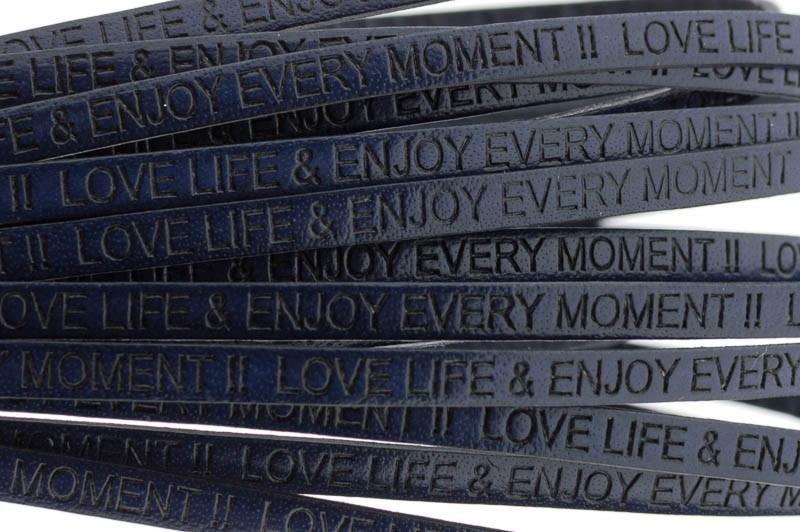 Tekst leer 'love life & enjoy every moment' donker blauw 5mm (per 20cm)