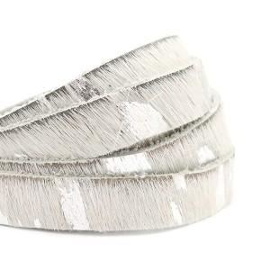 Vacht leer 10mm white silver per 20cm