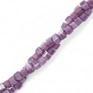 Vierkante cube facetkraal 2x2mm acai purple opal pearl shine coating