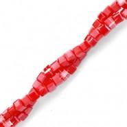 Vierkante cube facetkraal 2x2mm salsa red pearl shine coating