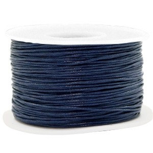 Waxkoord 1mm dark blue per meter