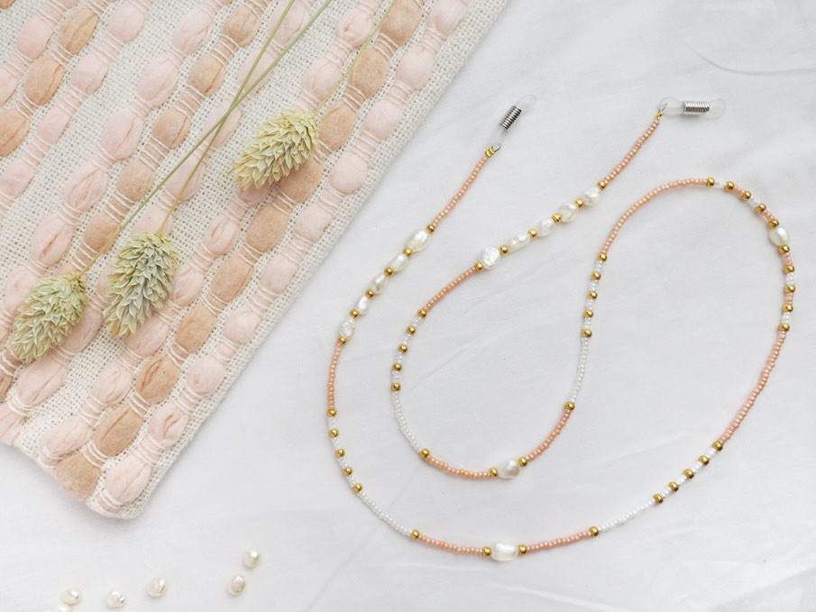 DIY pakket zonnebrilkoordje rose white pearl