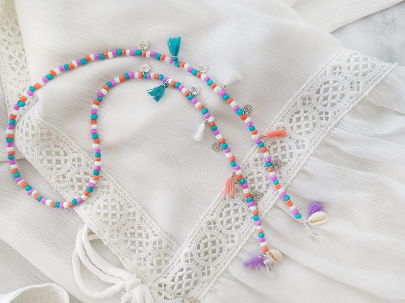 DIY pakket kralen zonnebrilkoordje met schelpjes en kwastjes