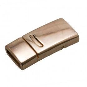 DQ magneetslot 27x13mm rose gold (voor 10mm plat leer / koord)