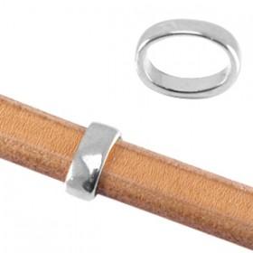 DQ metalen schuiver ovaal zilver 9.7x14.7mm (voor kabel leer 10x6mm of meerdere koorden leer / draad)