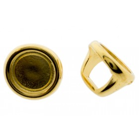 DQ metalen schuiver / slider rond goud 16x12mm (voor Polaris cabochon 12mm)