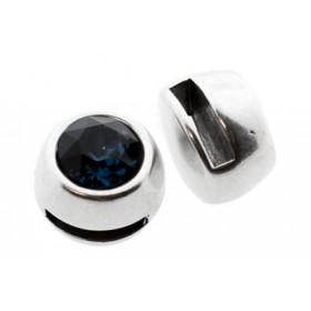 DQ metalen Swarovski SS39 puntsteen schuiver / slider zilver