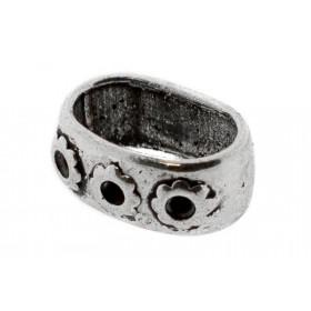 Metalen schuiver ovaal zilver 6x13mm (voor meerdere koorden leer)