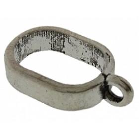 Ring met oog voor gestikt en vacht leer zilver