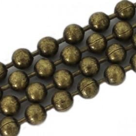 Bolletjesketting brons 2mm met duurzame plating