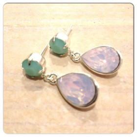 Swarovski mint alabaster en rose water opal zilver