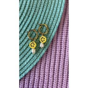 DIY pakket smiley oorbellen geel goud