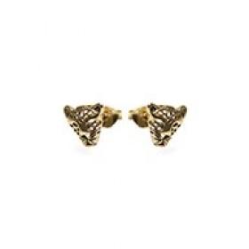 Karma minimalistische oorbellen symbols panther 925 sterling zilver (goldplated / per paar)