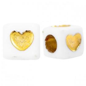 Acryl vierkante kraal met hartje goud 7mm