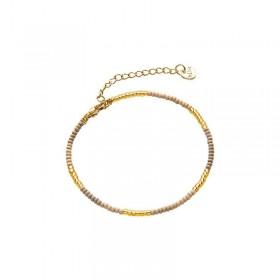 Armbandje kralen Biba kleurenmix beige goudkleurig