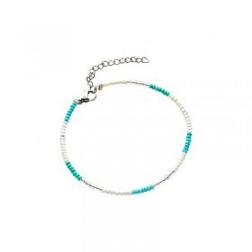 Armbandje kralen Biba kleurenmix blauw 2 zilverkleurig