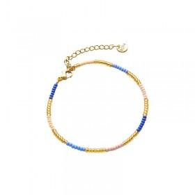 Armbandje kralen Biba kleurenmix blauw goudkleurig