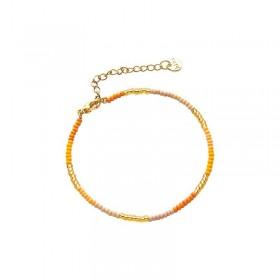 Armbandje kralen Biba kleurenmix geel goudkleurig