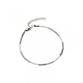 Armbandje kralen Biba kleurenmix grijs zilverkleurig