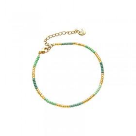 Armbandje kralen Biba kleurenmix groen goudkleurig
