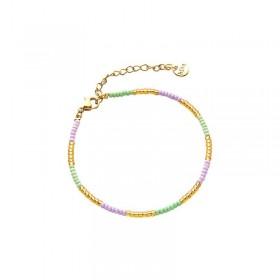 Armbandje kralen Biba kleurenmix paars goudkleurig