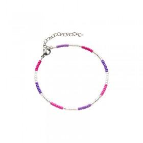 Armbandje kralen Biba kleurenmix roze zilverkleurig