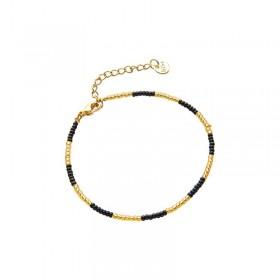 Armbandje kralen Biba kleurenmix zwart goudkleurig